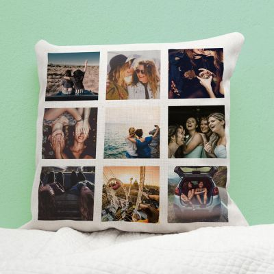 Cadeau anniversaire de mariage - Housse de coussin personnalisable avec 9 images