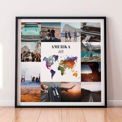 Cadeau 18 ans - Poster Voyage Personnalisable - 12 Images