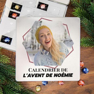 Cadeau prenom - Calendrier de l'Avent - Boîte en métal Pralines avec photo et texte