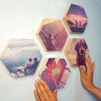 Photo sur Bois en forme d'Hexagone