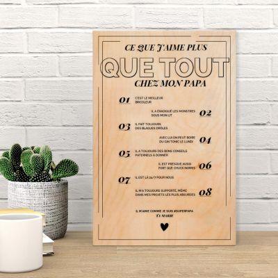 Cadeau femme - Poster en bois personnalisable - Ce que j'aime chez X