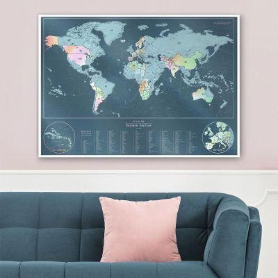 Cadeau pour sa copine - Carte du monde à gratter irisée