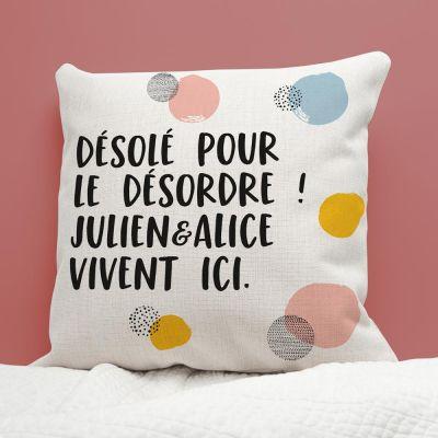Cadeau prenom - Housse de Coussin Texte Personnalisable