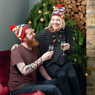 Vêtements & Accessoires - Bonnet de Noël avec Guirlandes