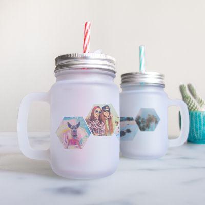 Tasses et Verres exclusifs - Mason Jar personnalisable avec 4 images