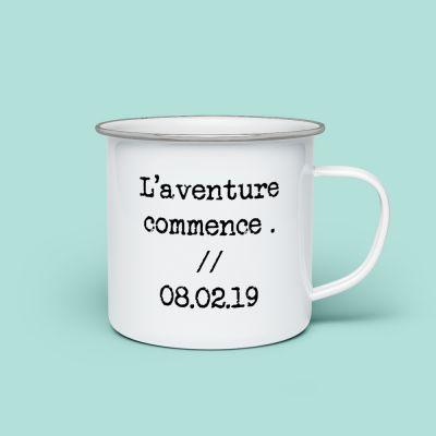 Verres & Mugs - Tasse en métal personnalisable avec texte