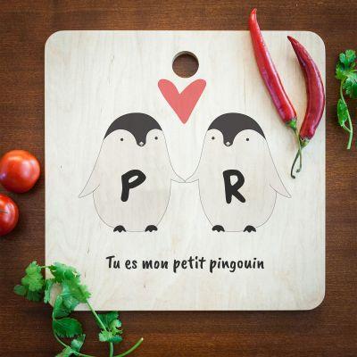 Cuisine & Barbecue - Planche à découper personnalisable – Couple de Pingouins