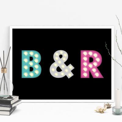 Produits exclusifs - Affiche personnalisable avec initiales colorées