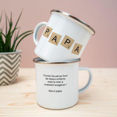 Verres & Mugs - Tasse en métal Personnalisable Scrabble