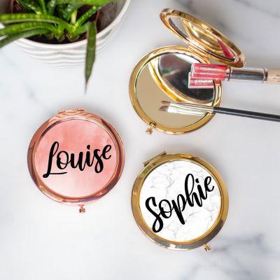 Cadeau soeur - Miroir de poche personnalisable avec nom