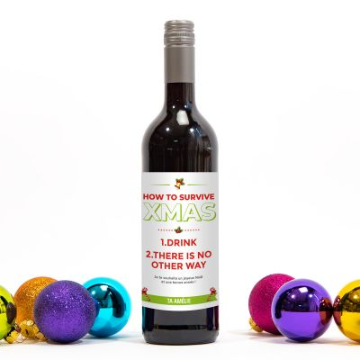 Nouveau - Bouteille de vin How To Survive Christmas