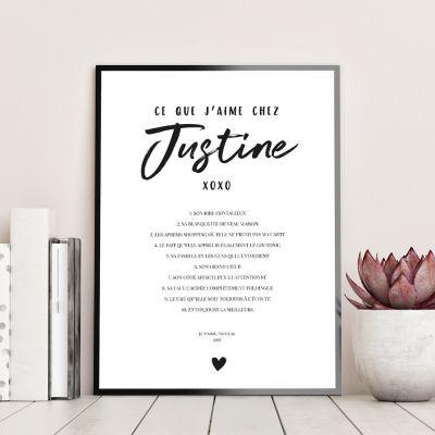 Trouver un cadeau - Poster Personnalisable Ce Que J'aime Chez…