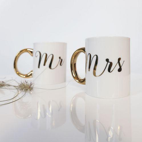 Idée cadeau - Tasses dorées Mr & Mrs