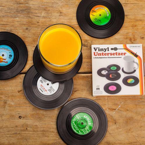 Cadeau anniversaire - 6 sous-verres vinyle Look